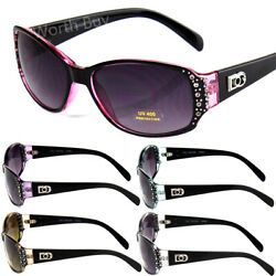 New Womens Rhinestones Oval Wrap Sunglasses Designer Fashion Shades Small Retro