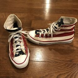 MADE IN USA Vintage Converse Chuck Taylor American Flag Print Mens 6 #58