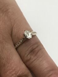14k Yellow Gold Oval Diamond Engagement Ring w Diamond Accent Size 6 12 - 2 Gr