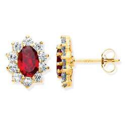 Real Red Garnet & Cz Oval Cluster Stud Earrings 9ct Yellow Gold 1.5g