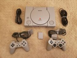 Original Sony PlayStation PS1 Console + Two Controllers + Memory Card