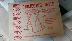 "VTG Portable Projector Table Smith Victor SV T1 17""x17""30"" Woodgrain 3 Outlet"