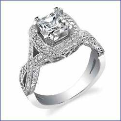 Halo w Criss Cross Split Shank; .50ct Diamond PLATINUM Designer Eng Semi Mount