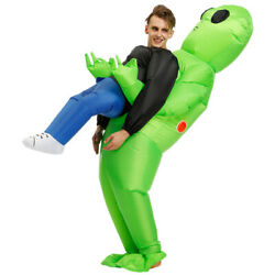 Halloween Green Alien Carrying Human Costume Funny Suit Cosplay for Adult Kids