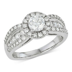 1-12 Ctw Diamond Halo Engagement Ring in 14k White Gold Black Friday Deals