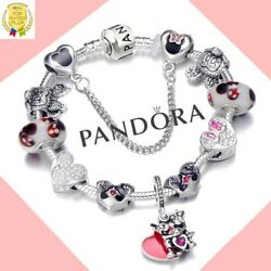 Authentic Pandora Bracelet Silver Disney Minnie Mickey with European Charms New