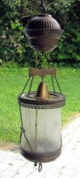 Antique Hanging Lamp with Brass and Etched Glass Body very good condition $425.00