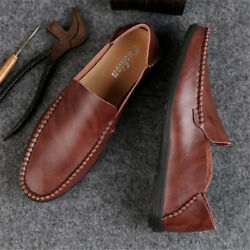 Men's Leather Casual Shoes Breathable Moccasins Soft Walking Driving Shoes