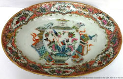 Fine Antique Rose Canton Pictoral Chinese Export Porcelain Serving Plate