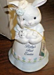 George Good Music Box Bisque Bunny Rabbit Baby's 1st Easter New in Box