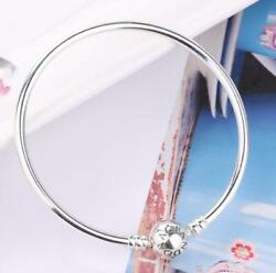 Authentic Pandora Silver Moments Bangle Embossed Ball Clasp Bracelet #590713