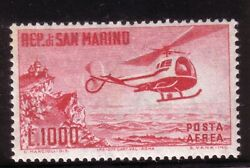SAN MARINO 1961 1000 L. HELICOPTER amp; MOUNT TITANO AIR MAIL STAMP MNH $19.50