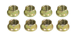 6 Point 8mm Engine Intake Nuts Gold Zinc Plated 8pcs 8mm-1.25 Thread