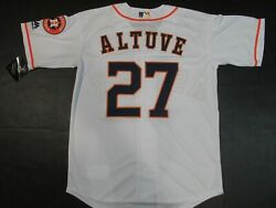 NWT Jose Altuve #27 Houston Astros Cool Base Collection Mens Jersey White