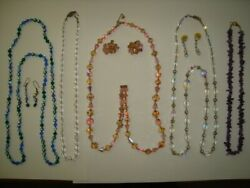 LOT OF 5 CRYSTALS NECKLACES 3 EARRINGS
