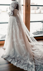 PRONOVIAS Onia Dress Including Jacket & Blush Cathedral Veil