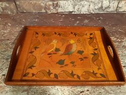 Antique Vintage Wooden Servants Butlers Serving Tea Tray Hand Painted Birds