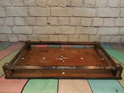 Antique Vintage Inlaid Wooden Gallery Butlers Servants Drinks Serving Tray