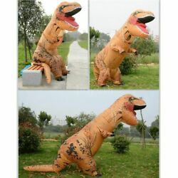 T-REX Inflatable Dinosaur Costume Jurassic Blow up Adults Kids Outfit Headgear