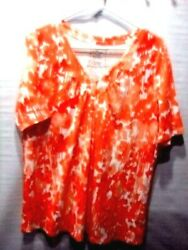 Lane Bryant womens top 1416 orange abstract cotton short sleeve pullover
