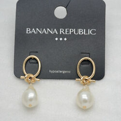 unique gold tone knot simple textured post stud faux pearl earrings for girls