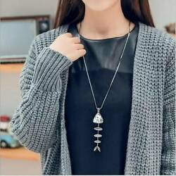 Fashion Creative Women Fishbone Pendant Long Necklace Sweater Chain Jewlery S