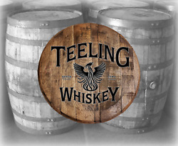 Rustic Home Bar Decor Teeling Whiskey Barrel Lid wood Wall Art Accessories $89.90