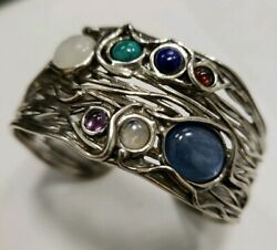 ISRAEL DESIGNER STERLING SILVER THICK CUFF BRACELET WITH MULTI COLORED STONES