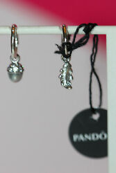 NWT FALL 2019 PANDORA ACORN AND LEAF HOOP EARRINGS 298603C01 TAG