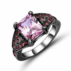Romantic Deluxe 18KT Black Gold Filled Pink Sapphire Valentine Ring Gift size 6