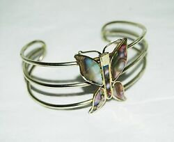 Vintage Abalone Butterfly Mexico Alpaca Silver Bracelet Mexican Marked