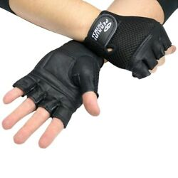 MENS LEATHER FINGERLESS BLACK DRIVING MOTORCYCLE BIKER GLOVES Work Out Exercise $7.95