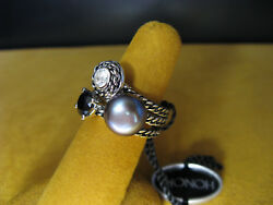 PEARL HONORA STACK RING SET WHITE TOPAZ BLACK ONYX SIZE 7 SILVER SS ROPE Gift