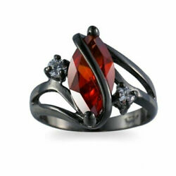 Deluxe Top Red Ruby Wedding Band Engagement Ring 18KT Black Gold Filled Size