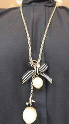 Gold tone chain 76 cms bird large pearls diamante pendant shabby chic