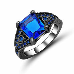Romantic Deluxe 18KT Black Gold Filled Blue Sapphire Valentine Ring Gift size 6