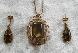 9ct Yellow Gold Fancy Flower And Scroll Pendant With Smokey Quartz and Earrings