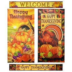 Happy Thanksgiving Door Cover Decorations Set of 2 Turkey and Pumpkin Holiday Ha