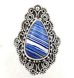 Natural Azurite 925 Solid Sterling Silver Ring Jewelry Sz 7 C29-4