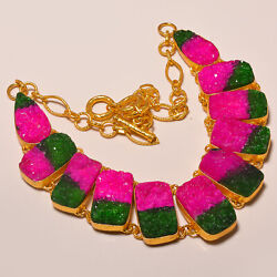 Bi-Color Tourmaline Cluster Drusy Gold Rhodium Plated Handmade Necklace 18