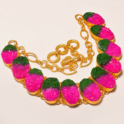 Watermelon Tourmaline Cluster Drusy Gold Rhodium Plated Necklace 17.99(851) os