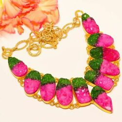 Watermelon Cluster Drusy Gold Rhodium Plated Handmade Necklace 17.99