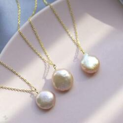 1PCS 14-15mm Pink Baroque Pearl Pendant Necklace 18 inches Aurora Diy Hang Chic