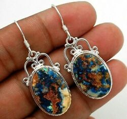 Must Have Natural Azurite 925 Solid Sterling Silver Earrings Jewelry 1C3-9