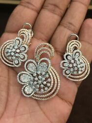 Pave 6.82 Cts Round Brilliant Cut Diamonds Pendant Earrings Set In 585 14K Gold