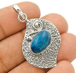 Natural Azurite 925 Solid Sterling Silver Pendant Jewelry C32-9