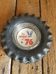 Firestone Tractor Tires Antique Vintage Glass Rubber Gas Station Sign Ashtray