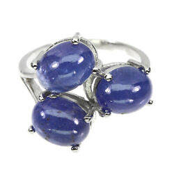 Unheated Oval Blue Tanzanite 9x7mm Natural 925 Sterling Silver Ring Size 7.5