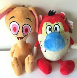 Set of 2 Ren and Stimpy Plush Toys Large 12 14 inch .Nickelodeon. New. Licensed $32.99