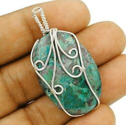 Nice Design Azurite 925 Solid Sterling Silver Pendant Jewelry C27-5